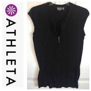 Athleta Black Cap Sleeve TShirt Quarter Zip Sz S